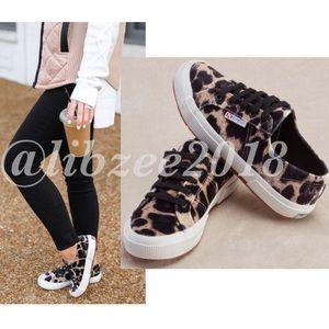 Plush Velvet Leopard Sneakers 2750 by Superga NIB